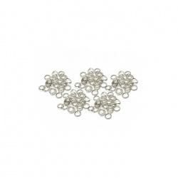 50 anneaux ouverts  5mm métal argenté clair