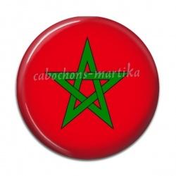 Cabochon Résine - drapeau maroc
