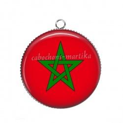Pendentif Cabochon Argent - drapeau maroc