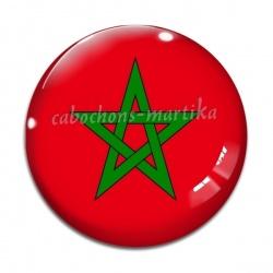 Cabochon Verre - drapeau maroc