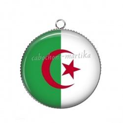 Pendentif Cabochon Argent - drapeau algerie
