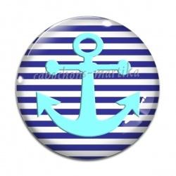 Cabochon Verre - ancre marine