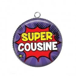 Pendentif Cabochon Argent - Super cousine