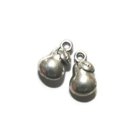 5 breloques poire métal argenté