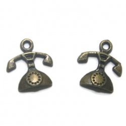 1 breloque téléphone métal bronze