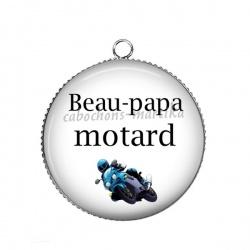 Pendentif Cabochon Argent - beau-papa motard