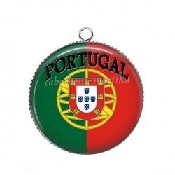 Pendentif Cabochon Argent - drapeau portugal