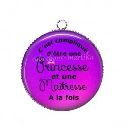Pendentif Cabochon Argent - princesse
