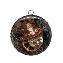 Pendentif Cabochon Argent - Steampunk