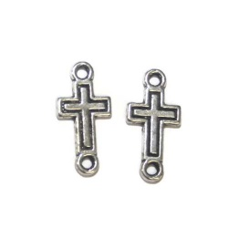 2 connecteurs croix métal argenté