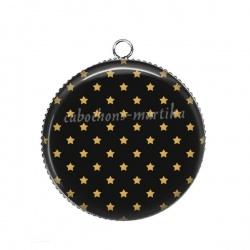 Pendentif Cabochon Argent - étoile dorée