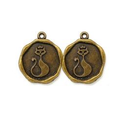 breloque médaille chat métal bronze