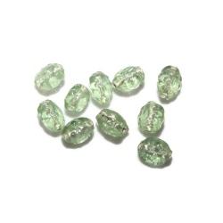 10 perles verre verte 9 mm