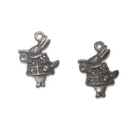 5 breloques lapin métal bronze