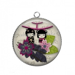 Pendentif Cabochon Argent - kokeshis
