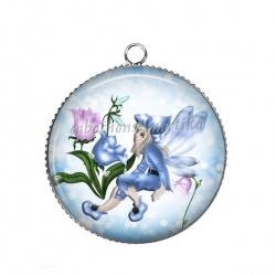 Pendentif Cabochon Argent - petite fille ange