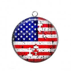 Pendentif Cabochon Argent - drapeau usa