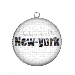 Pendentif Cabochon Argent - new-york