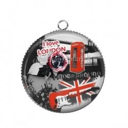 Pendentif Cabochon Argent - i love london