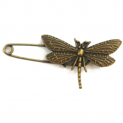 Support broche libellule métal bronze 70 mm