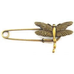 Support broche libellule métal bronze 61 mm