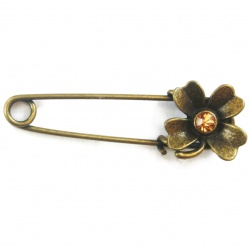 Support broche fleur métal bronze 54 mm