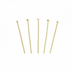 20 clous tiges 45 mm métal doré