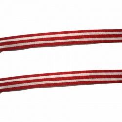 1 métre ruban coton rouge rayé blanc 10 mm