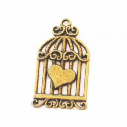 breloque cage coeur métal bronze