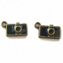 Breloque appareil photo métal bronze
