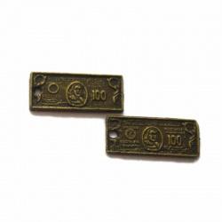 Breloque billet métal bronze