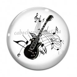 Cabochon Verre -  guitare et note de musique