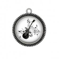 Pendentif Cabochon Argent -  guitare et note de musique