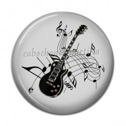 Cabochon Résine -  guitare et note de musique
