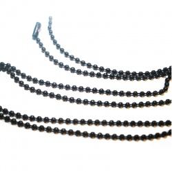 chaine 60 cm bille noire avec fermoir