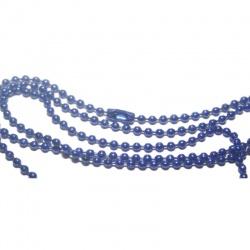 chaine 60 cm bille bleu foncer avec fermoir