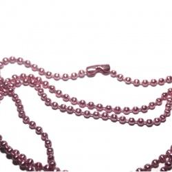 chaine 60 cm bille rose avec fermoir