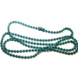 chaine 60 cm bille vert avec fermoir