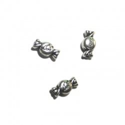 10 perles bombon métal argenté