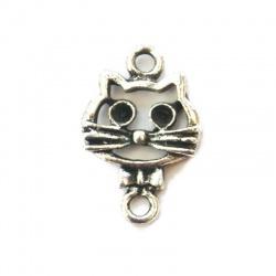 connecteur chat moustache métal argenté