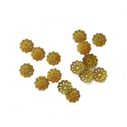 30 Coupelles Calottes doré moutarde 6 mm