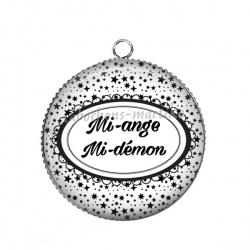 Pendentif Cabochon Argent - Mi-ange,Mi-démon