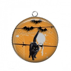 Pendentif Cabochon Argent - Halloween