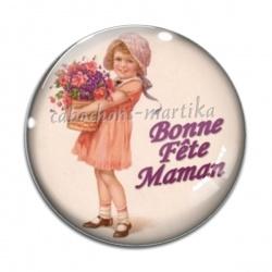 Cabochon Verre - bonne fête maman