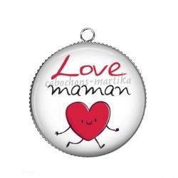 Pendentif Cabochon Argent - love maman