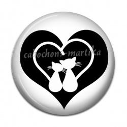Cabochon Résine - chat  noir coeur noir