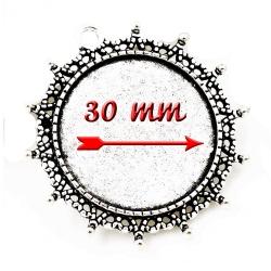 support métal argenté pour Cabochon de 30 mm