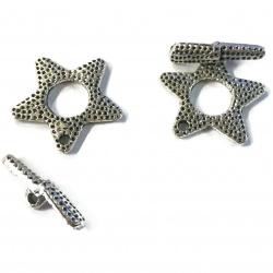 fermoir toggle étoile métal argenté