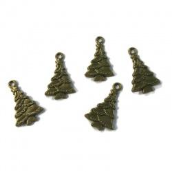4 breloques sapin de noël métal bronze