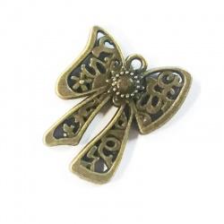 Breloque noeud métal bronze
